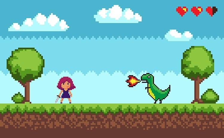 girl 8 bit game